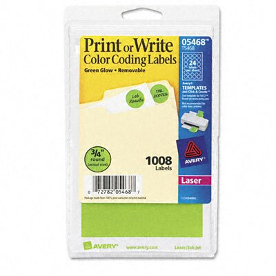 Avery Consumer Products Print or Write Removable Color-Coding Labels, 1008/Pack
