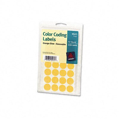 Avery Consumer Products Self-Adhesive Removable Labels, 3/4in dia, Orange Neon, 1008/Pack