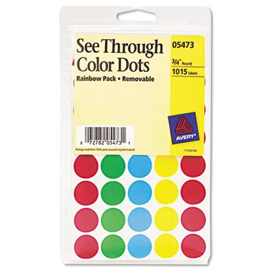 Avery Consumer Products See-Through Removable Color Dots, 1015/Pack