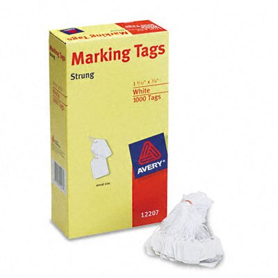 Avery Consumer Products Price Tags, Paper/Twine, 1-1/8 x 3/4, White, 1000 per Box