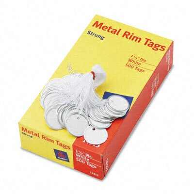 Avery Consumer Products Metal Rim Marking Tags, Paper/Twine/Metal, 1-1/4&quot; Diameter, White, 500 per Box                                               