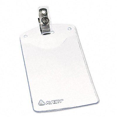 Avery Consumer Products Photo ID Badge Holder, Business Size, Vertical With Clip, 50 Per Box