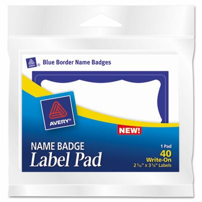 Avery Consumer Products Name Badge Label Pads, 40/Pack