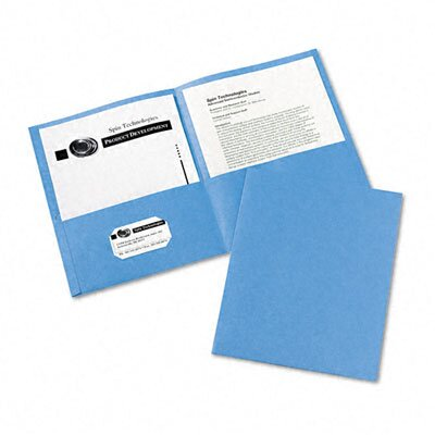 Avery Consumer Products Two-Pocket Portfolio, Embossed Paper, 30-Sheet Capacity, Light Blue, 25 per Box