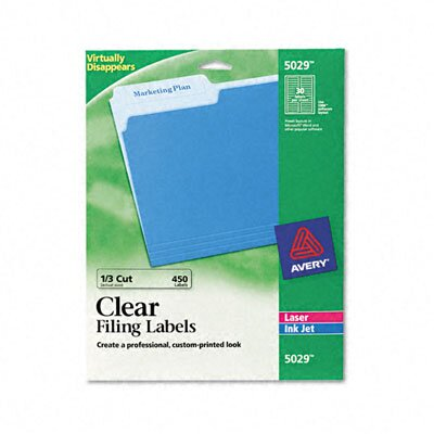 Avery Consumer Products Self-Adhesive Filing Labels, 3-7/16 x 2/3, Clear, 30 per Sheet, 450/Pack