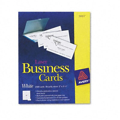Avery Consumer Products Laser Business Cards, 2 x 3-1/2, White, 10 Cards per Sheet, 2,500 Cards per Box                                              