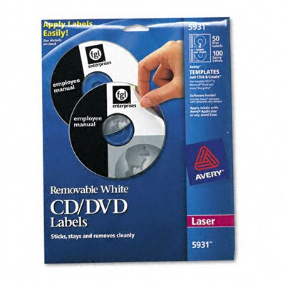Avery Consumer Products Laser CD/DVD Labels, 50/Pack