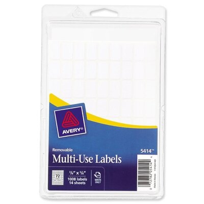 Avery Consumer Products Removable Multipurpose Labels,3/8&quot;x5/8&quot;, 1008 per Pack, White