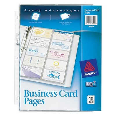 Avery Consumer Products Business Card Binder Pages, 20 2 X 3 1/2 Cards/Page, 10 Pages/Pack