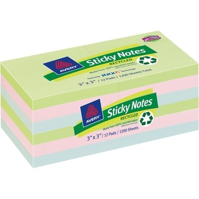 Avery Consumer Products Recycled Sticky Notes Adhesive Pad (Pack of 12)
