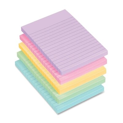 Avery Consumer Products Lay Flat Self-Adhesive Pastel Ruled Stick Note