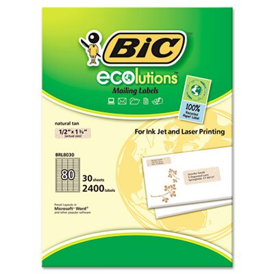 Bic Corporation ecolutions Mailing Labels, 1/2 x 1 3/4, Natural Tan, 2400/Box