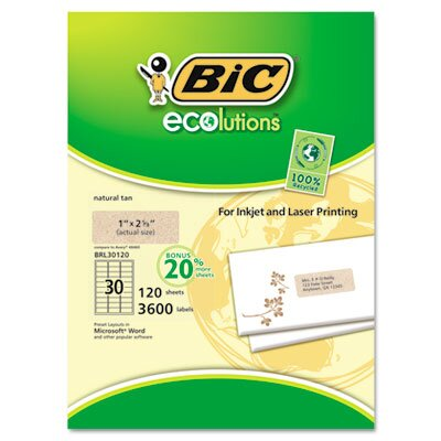 Bic Corporation ecolutions Mailing Labels, 1 x 2 5/8, Natural Tan, 900/Box