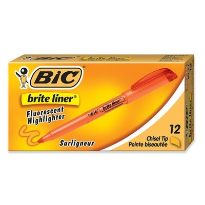 Bic Corporation Highlighter w/ Pocket Clip, Chisel Point, Nontoxic, 12-Pack, Orange