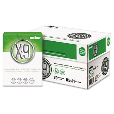 Boise® X-9 Copy Paper, 92 Brightness, 20 lb, 8-1/2 X 11, 5000 Sheets/Carton