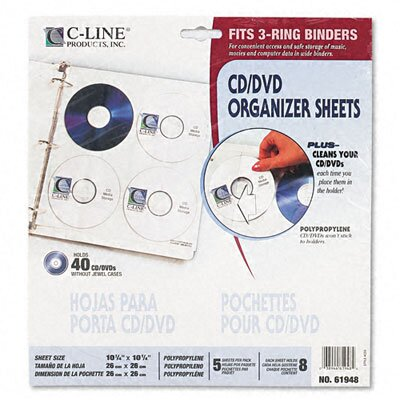 C-Line Products, Inc. Standard Deluxe Cd Ring Binder Storage Pages with Stores 8 Cds, (5/Pack)