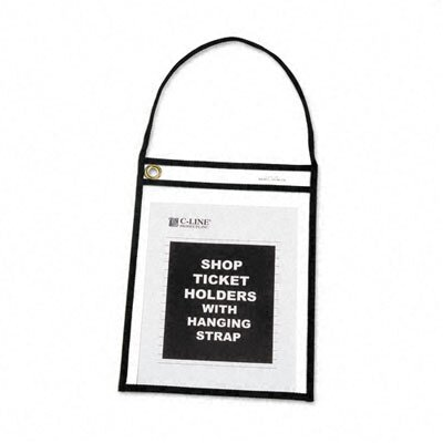 C-Line Products, Inc. Shop Ticket Stitched Both Sides Clear Holder with Strap (15/Box)