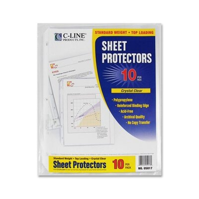 "C-Line Products, Inc. Standard Weight Poly Sheet Protectors, Poly, Top Loading, 8-1/2""x11"", 10/PK, CL"