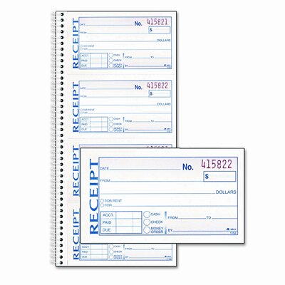 Cardinal Brands, Inc Rent Receipt, 2-3/4 x 5-1/4, Carbonless Duplicate, 200 Sets/Book