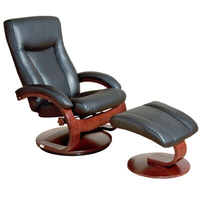 Mac Motion Oslo 54 Series Leather Ergonomic Recliner and Ottoman