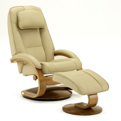 Mac Motion Oslo 52 Leather Ergonomic  Recliner and Ottoman