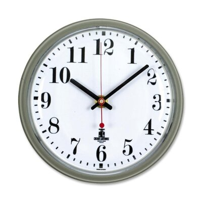 "Chicago Lighthouse For The Blind Wall Clock,w/Cubicle Mounting Tape, 7-1/2"", White Dial, Gray"