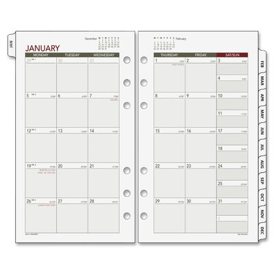 Day Runner Express Nature Tabbed Monthly Calendar Refill