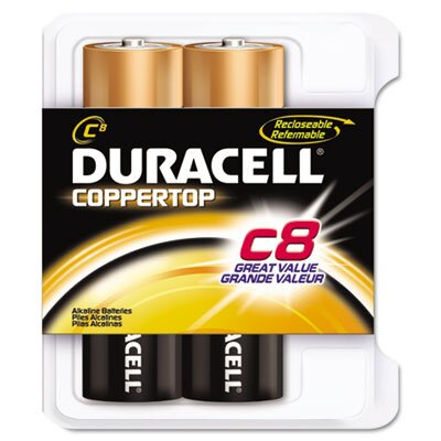 Duracell Coppertop Alkaline Batteries, C, 8/pack