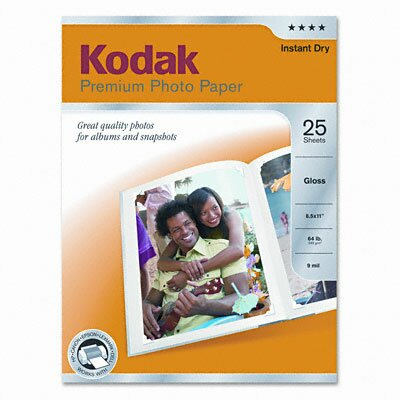 Eastman Kodak Glossy Premium Photo Paper, 25 Sheets/Pack