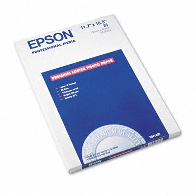 "Epson America Inc. Ultra Premium Luster Photo Paper, 11.75"" x 16.5"", 50 Sheets/Pack"