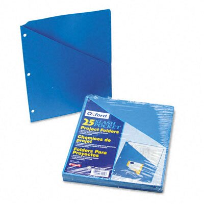 Esselte Pendaflex Corporation Essentials Slash Pocket Project Folders, Jacket, Ltr, BL, 25/pk