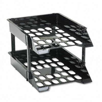 Deflect-O Corporation Super Tray Unbreakable Countertop Tray Set, Two-Tier, Plastic, Black
