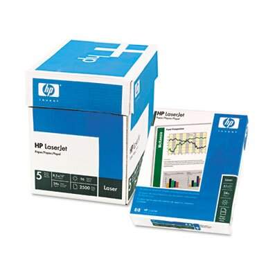 HP LaserJet Paper, White, 96 Bright, 24lb, Letter, 2500 Sheets/Carton
