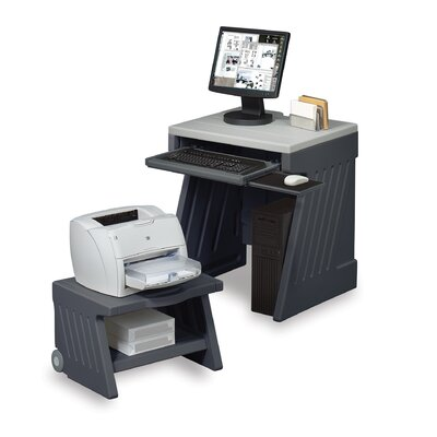 Iceberg Enterprises SnapEase PC Workstation and Printer Cart in Charcoal