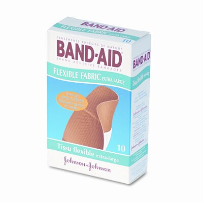 Johnson &amp; Johnson Flexible Fabric Extra Large Adhesive Bandages, 1-1/4 x 4, 10 per Box                                                         