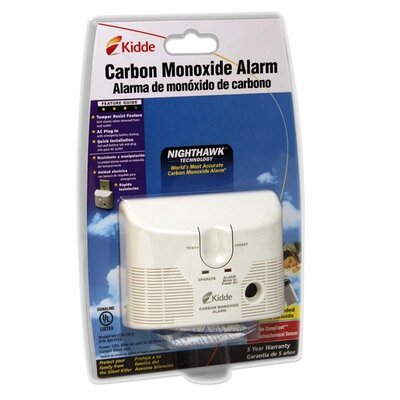 Kidde Fire and Safety Carbon Monoxide Alarm, AC/DD Plug In, 9V Battery Backup, White