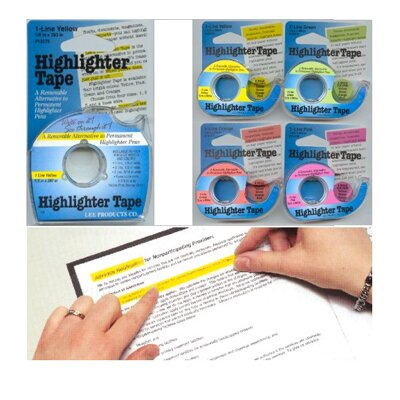 Lee Products Company Removable Highlighter Tape Yellow
