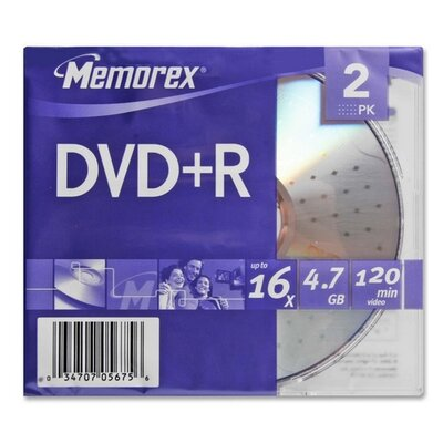 Memorex DVD+R, 16x, 4.7GB, 2 per Pack