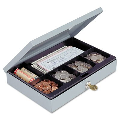 Steelmaster Heavy-Duty Steel Low-Profile Cash Box with 6 Compartments