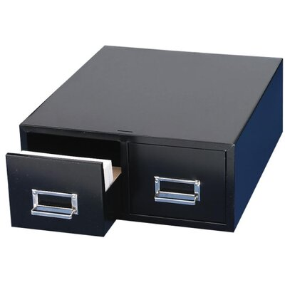 MMF Industries Card Cabinet File, 2-Drawer, 3000 Card Capacity, Black, Various Sizes