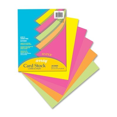 "Pacon Corporation Card Stock Paper,Hyper,65 lb.,8-/2""x11"",100/PK,Assorted"