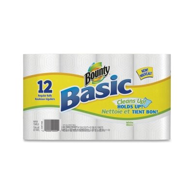 Procter &amp; Gamble Commercial Bounty Basic Towels, 1-Ply, 52 Sheets, 12RL/PK