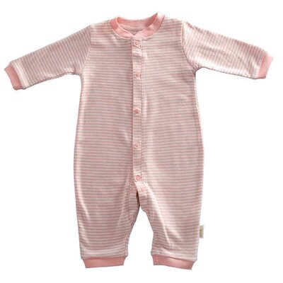 Tadpoles Tadpoles Organic Double Knit Cotton Footless Snap Front Romper in Salmon