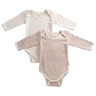 Tadpoles Tadpoles Organic Cotton 2 Piece Pinstripe and Solid Romper Set in Cocoa