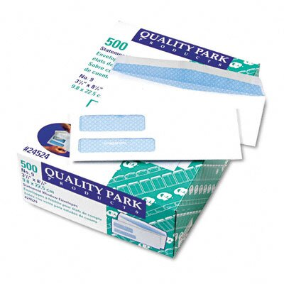 Quality Park Products Double Window Security Tinted Invoice and Check Envelope, #9, White, 500/box