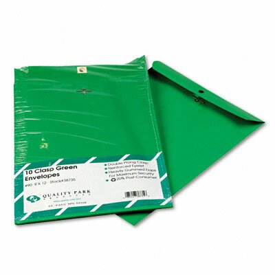 Quality Park Products Fashion Color Clasp Envelope, 9 X 12, 28Lb, 10/Pack