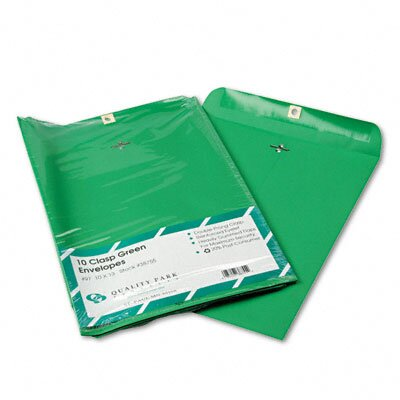 Quality Park Products Fashion Color Clasp Envelope, 10 x 13, 28lb, Green, 10/pack