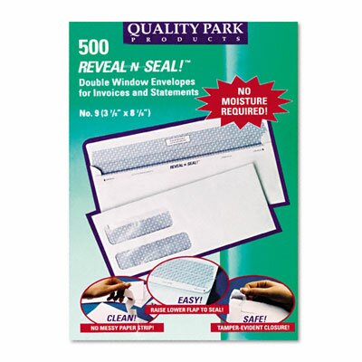 Quality Park Products Reveal-N-Seal Double Window Invoice Envelope, Self-Adhesive, White, 500/box