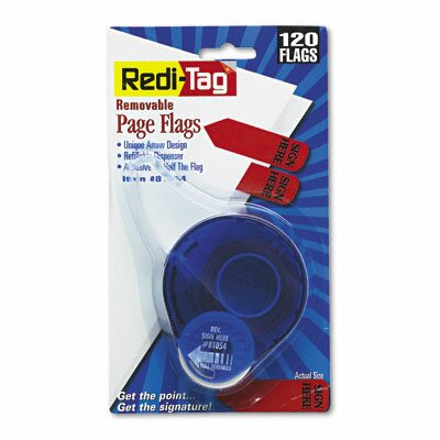 "Redi-Tag Corporation ""Sign Here"" Arrow Message Page Flag in Dispenser, 120 Flags/Dispenser"