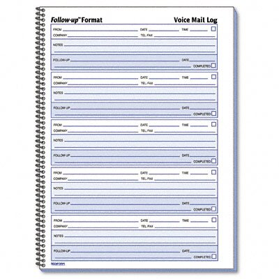 Rediform Office Products Voice Mail Wirebound Log Book, 500 Sets/Book